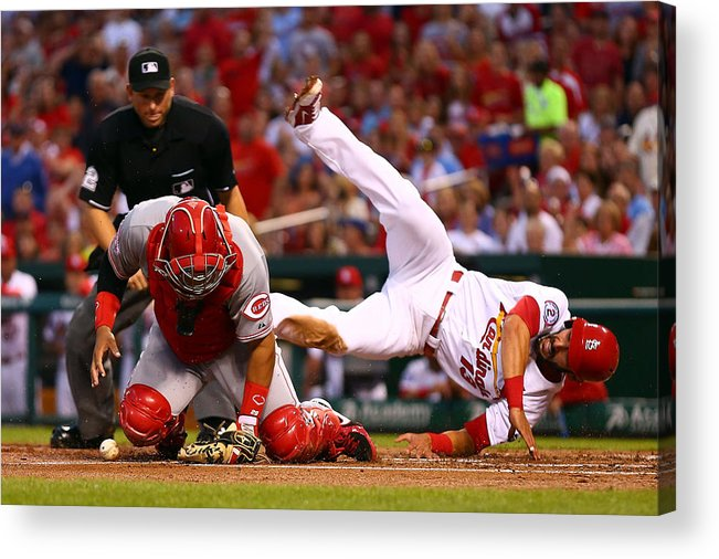 St. Louis Cardinals Acrylic Print featuring the photograph Matt Carpenter and Brayan Pena by Dilip Vishwanat