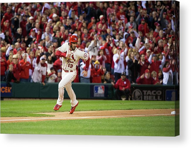 St. Louis Cardinals Acrylic Print featuring the photograph Matt Carpenter and Matt Holliday by Ron Vesely