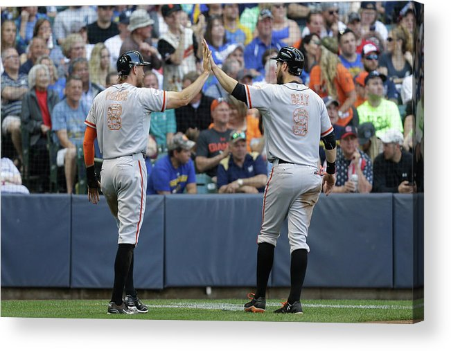 People Acrylic Print featuring the photograph Matt Duffy, Hunter Pence, and Brandon Belt by Mike Mcginnis