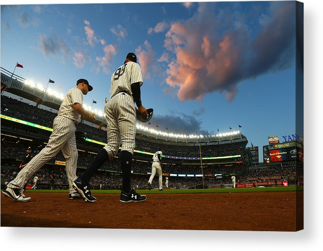 Second Inning Acrylic Print featuring the photograph Matt Holliday and Aaron Judge by Mike Stobe