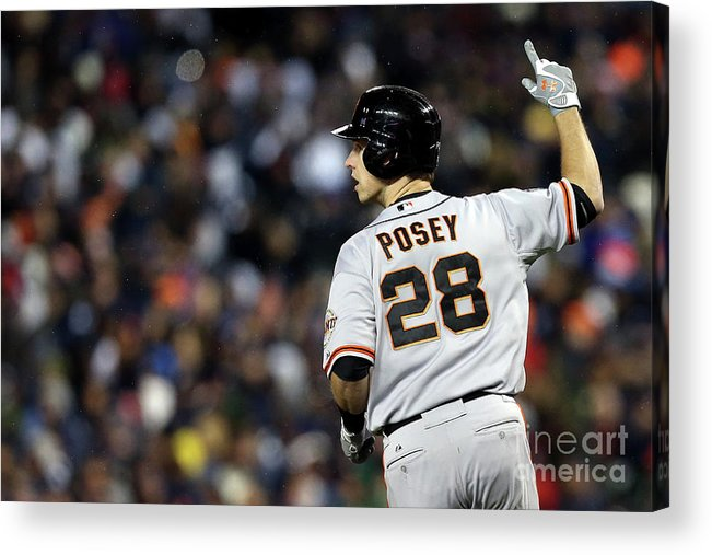 American League Baseball Acrylic Print featuring the photograph Max Scherzer and Buster Posey by Ezra Shaw