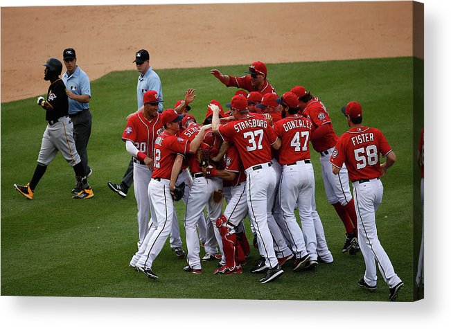 People Acrylic Print featuring the photograph Max Scherzer and Jose Tabata by Rob Carr