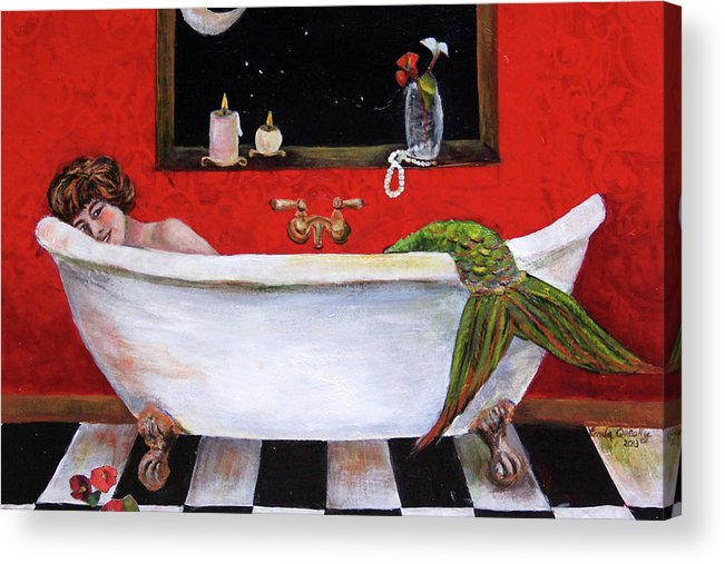 Mermaid Acrylic Print featuring the painting Mermaid in Bathtub Taking a Moonlight Soak by Linda Queally by Linda Queally