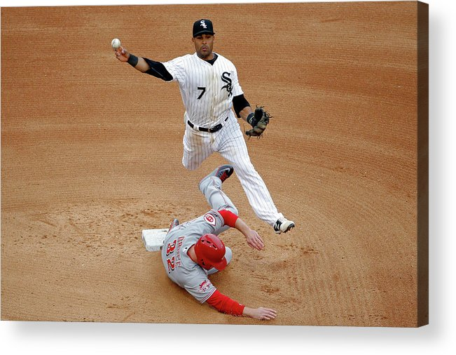 People Acrylic Print featuring the photograph Micah Johnson and Jay Bruce by Jon Durr