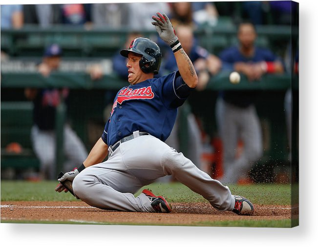 American League Baseball Acrylic Print featuring the photograph Michael Brantley and Asdrubal Cabrera by Otto Greule Jr