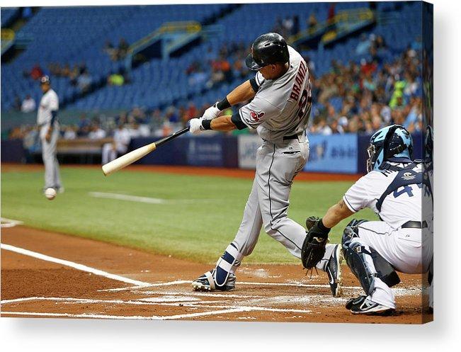 Baseball Catcher Acrylic Print featuring the photograph Michael Brantley, Rene Rivera, and Jason Kipnis by Brian Blanco