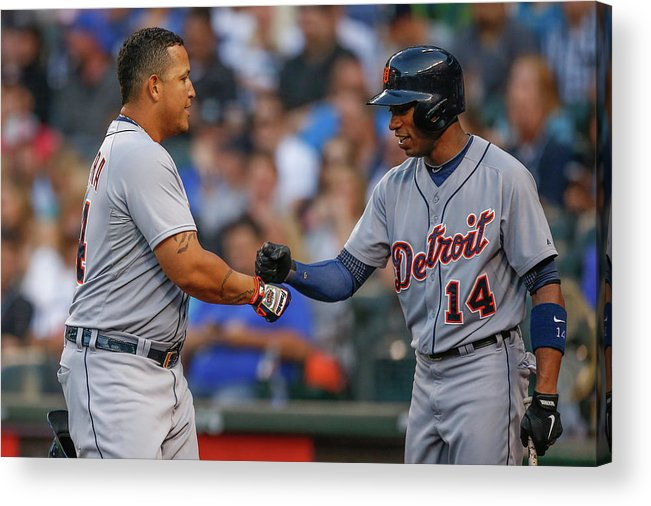 American League Baseball Acrylic Print featuring the photograph Miguel Cabrera and Austin Jackson by Otto Greule Jr