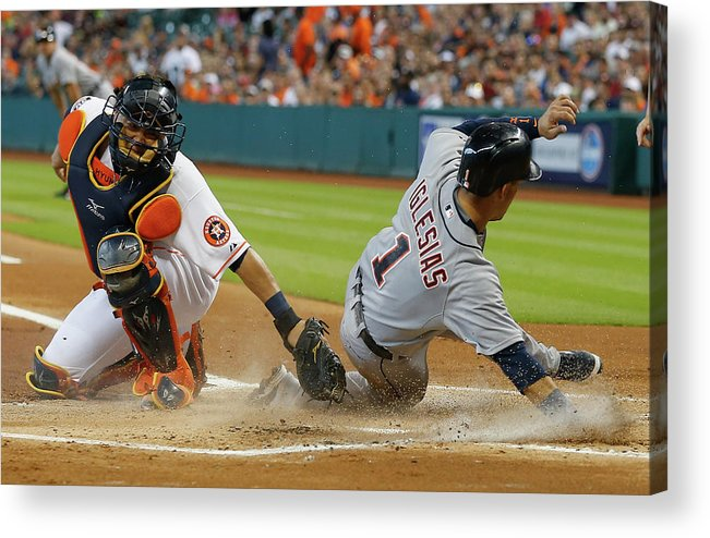 People Acrylic Print featuring the photograph Miguel Cabrera and Hank Conger by Bob Levey