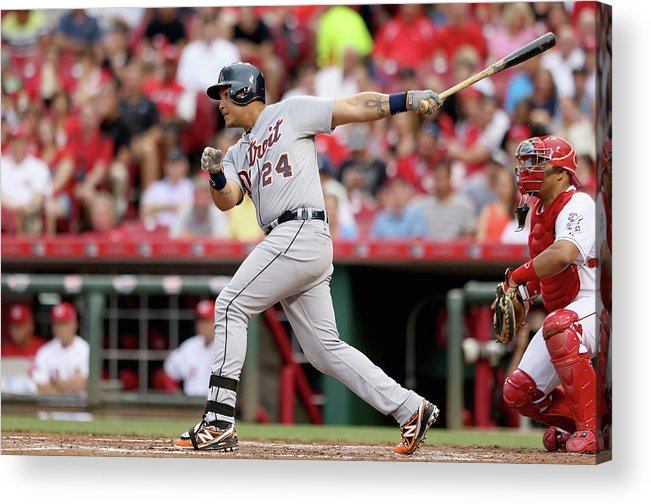 Great American Ball Park Acrylic Print featuring the photograph Miguel Cabrera by Andy Lyons