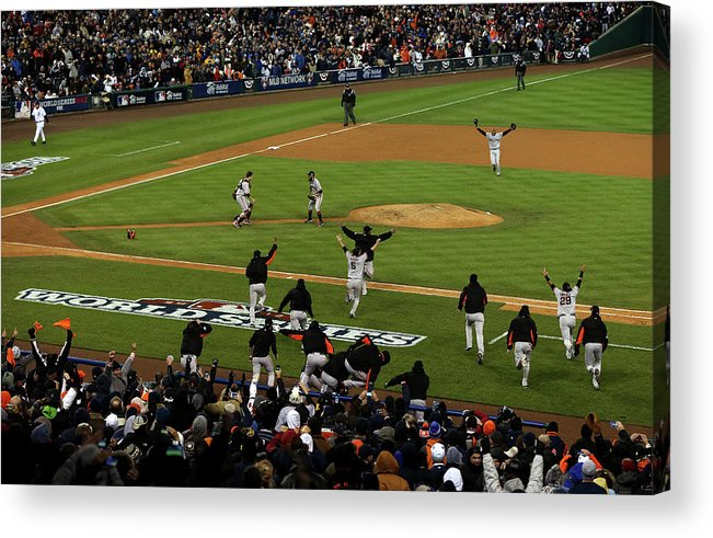 American League Baseball Acrylic Print featuring the photograph Miguel Cabrera, Sergio Romo, and Buster Posey by Jonathan Daniel