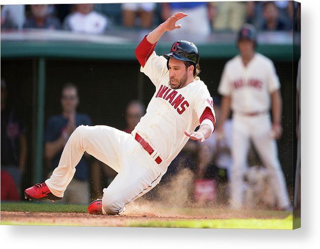 American League Baseball Acrylic Print featuring the photograph Mike Aviles and Jason Kipnis by Jason Miller