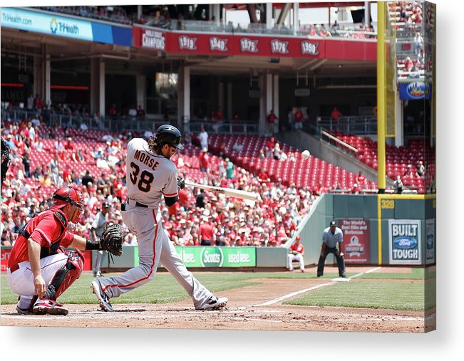 Great American Ball Park Acrylic Print featuring the photograph Mike Morse by Joe Robbins