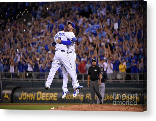 People Acrylic Print featuring the photograph Mike Moustakas and Eric Hosmer by Ed Zurga