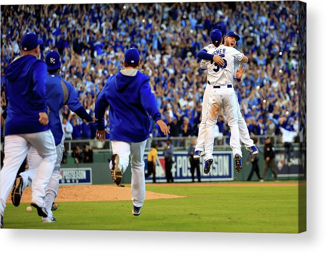 American League Baseball Acrylic Print featuring the photograph Mike Moustakas and Eric Hosmer by Jamie Squire