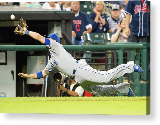American League Baseball Acrylic Print featuring the photograph Mike Moustakas and Lonnie Chisenhall by Jason Miller