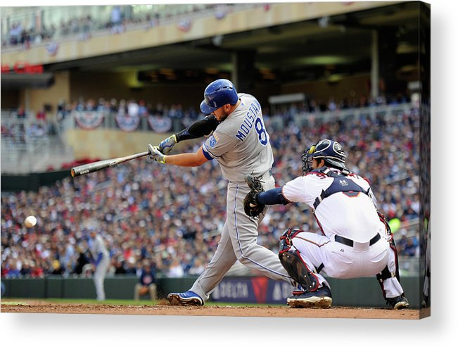 Second Inning Acrylic Print featuring the photograph Mike Moustakas by Hannah Foslien