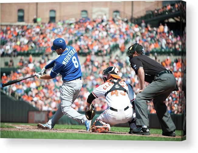 American League Baseball Acrylic Print featuring the photograph Mike Moustakas by Rob Tringali