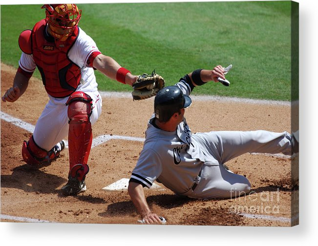 Baseball Catcher Acrylic Print featuring the photograph Mike Napoli and Paul Konerko by Kirby Lee
