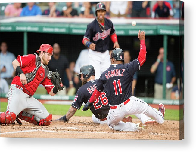 Baseball Catcher Acrylic Print featuring the photograph Mike Napoli, Lonnie Chisenhall, and Jett Bandy by Jason Miller