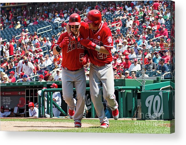 People Acrylic Print featuring the photograph Mike Trout and Kole Calhoun by Patrick Mcdermott