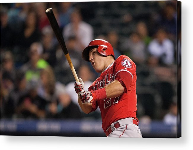 Three Quarter Length Acrylic Print featuring the photograph Mike Trout by Dustin Bradford