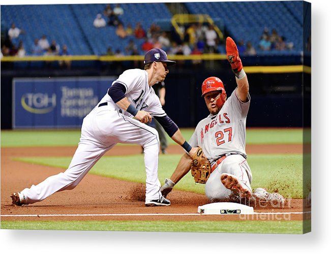 People Acrylic Print featuring the photograph Mike Trout by Julio Aguilar