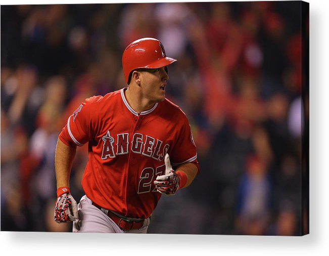 People Acrylic Print featuring the photograph Mike Trout by Justin Edmonds
