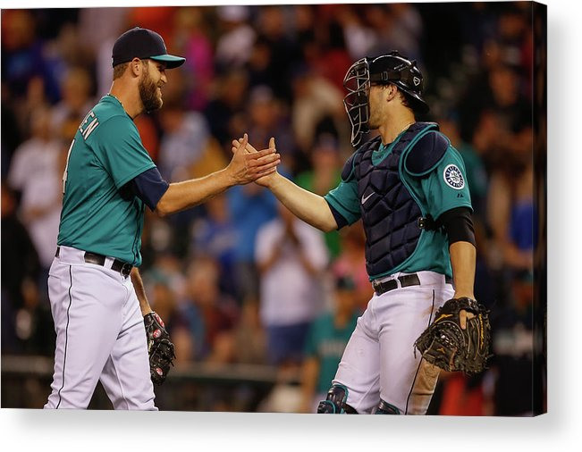 Baseball Catcher Acrylic Print featuring the photograph Mike Zunino and Tom Wilhelmsen by Otto Greule Jr