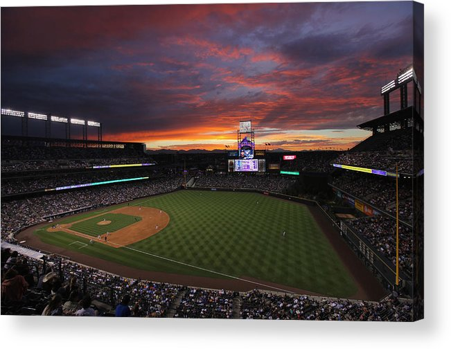 Spectrum Acrylic Print featuring the photograph Milwaukee Brewers v Colorado Rockies by Doug Pensinger