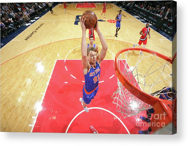 Nba Pro Basketball Acrylic Print featuring the photograph Mindaugas Kuzminskas by Ned Dishman