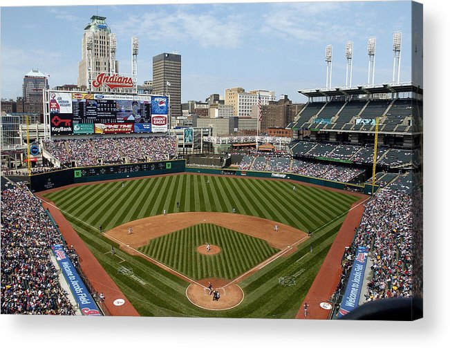 American League Baseball Acrylic Print featuring the photograph Minnesota Twins v Cleveland Indians by David Maxwell