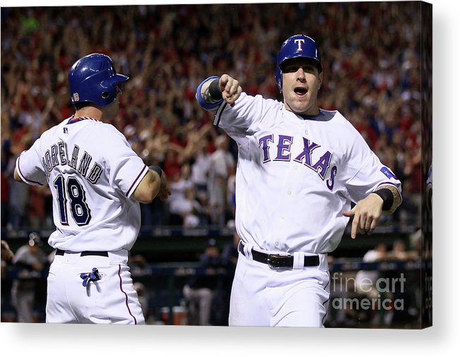 Playoffs Acrylic Print featuring the photograph Mitch Moreland, Josh Hamilton, and Vladimir Guerrero by Elsa