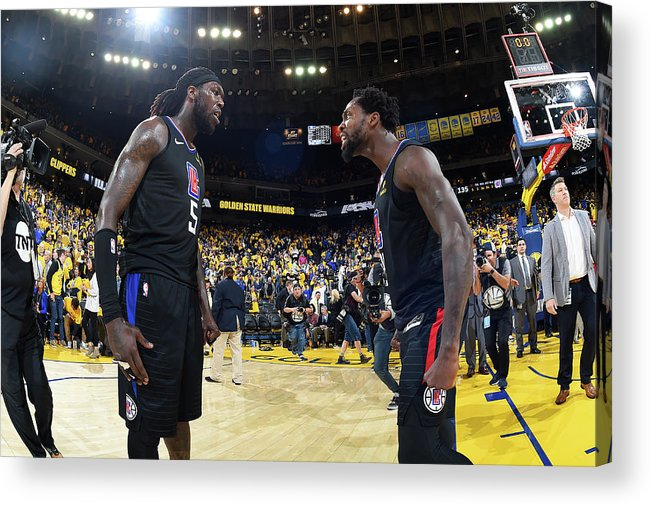 Playoffs Acrylic Print featuring the photograph Montrezl Harrell and Patrick Beverley by Andrew D. Bernstein
