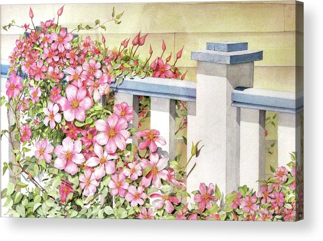 Florals Acrylic Print featuring the painting My Porch Railing by Mary Ellen Mueller Legault