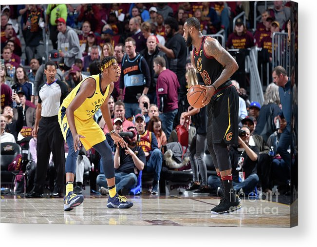 Playoffs Acrylic Print featuring the photograph Myles Turner and Lebron James by David Liam Kyle
