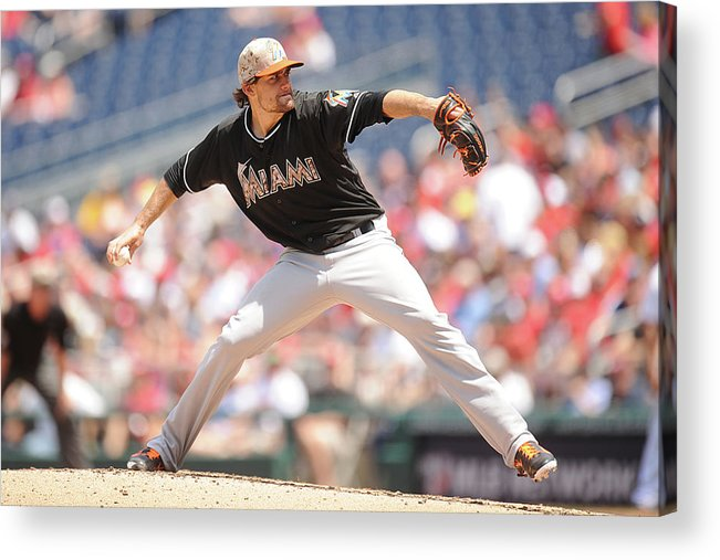 Second Inning Acrylic Print featuring the photograph Nathan Eovaldi by Mitchell Layton