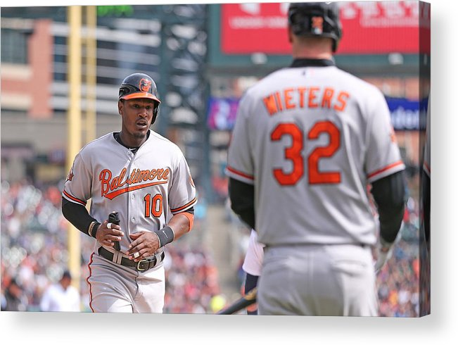 American League Baseball Acrylic Print featuring the photograph Nelson Cruz and Adam Jones by Leon Halip