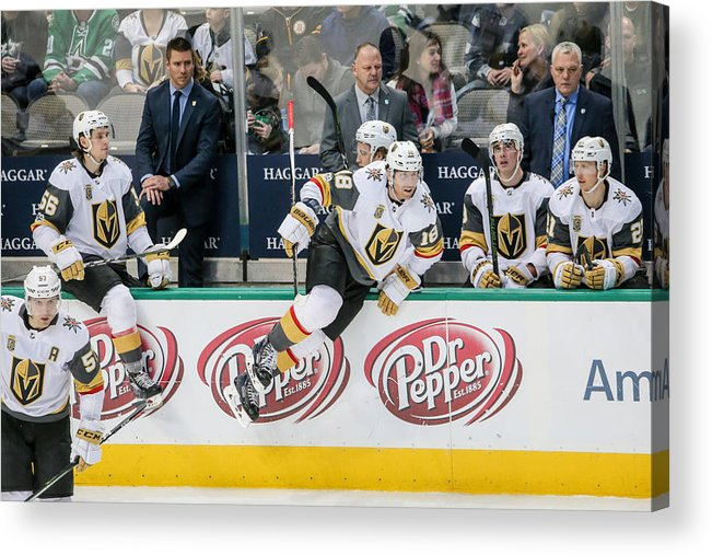 Vegas Golden Knights Acrylic Print featuring the photograph NHL: DEC 09 Golden Knights at Stars by Icon Sportswire
