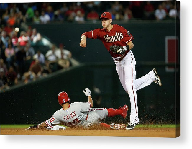 Double Play Acrylic Print featuring the photograph Nick Ahmed and Freddy Galvis by Christian Petersen