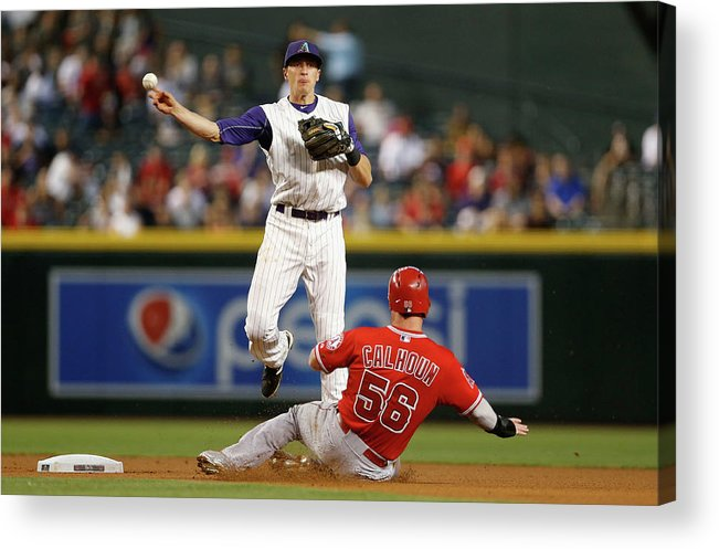 Double Play Acrylic Print featuring the photograph Nick Ahmed and Kole Calhoun by Christian Petersen