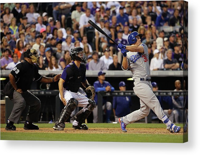 Baseball Catcher Acrylic Print featuring the photograph Nick Hundley and Joc Pederson by Doug Pensinger