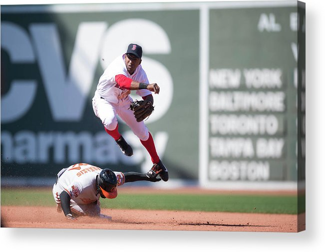 East Acrylic Print featuring the photograph Nick Markakis, Jonathan Herrera, and Xander Bogaerts by Rob Tringali