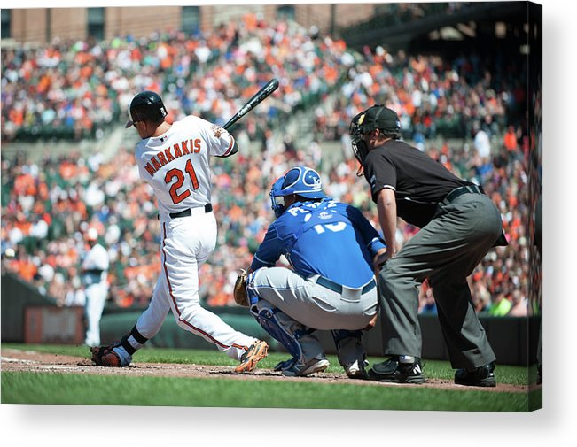 American League Baseball Acrylic Print featuring the photograph Nick Markakis by Rob Tringali
