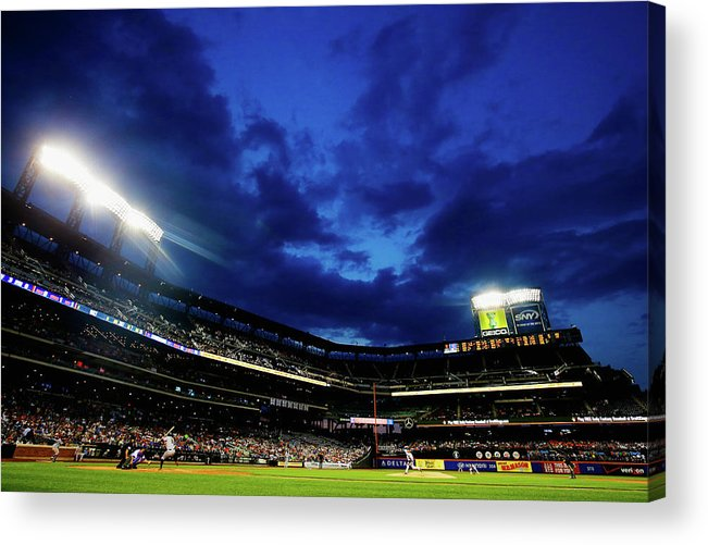 People Acrylic Print featuring the photograph Noah Syndergaard and Brandon Belt by Al Bello
