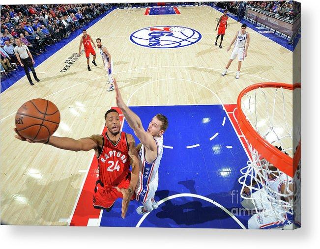 Nba Pro Basketball Acrylic Print featuring the photograph Norman Powell and Nik Stauskas by Jesse D. Garrabrant