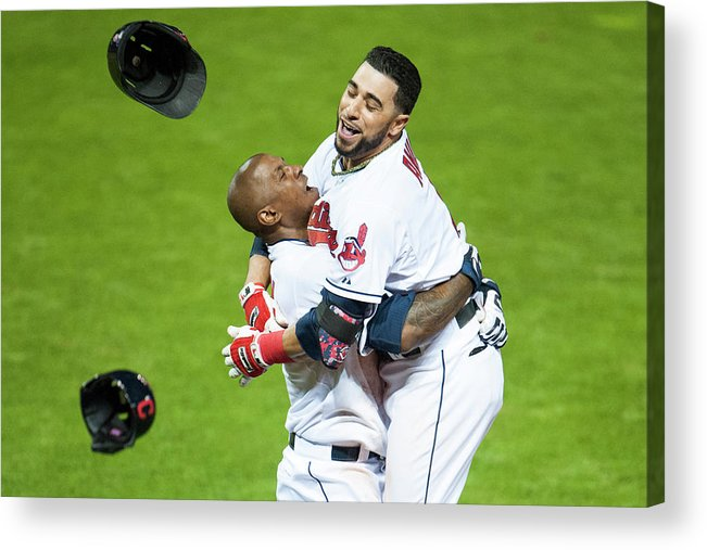 American League Baseball Acrylic Print featuring the photograph Nyjer Morgan and Mike Aviles by Jason Miller