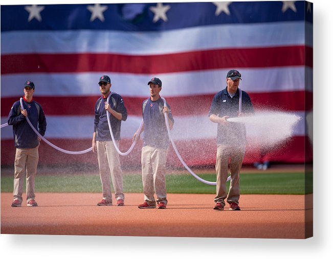 Spray Acrylic Print featuring the photograph Oakland Athletics v Boston Red Sox by Rich Gagnon