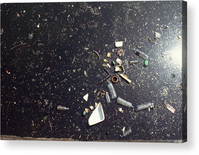 Air Pollution Acrylic Print featuring the photograph Oil spill in water by James Hardy