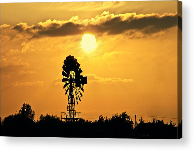 Sky Acrylic Print featuring the photograph Old Windmill At Sunset by Bernd Schunack