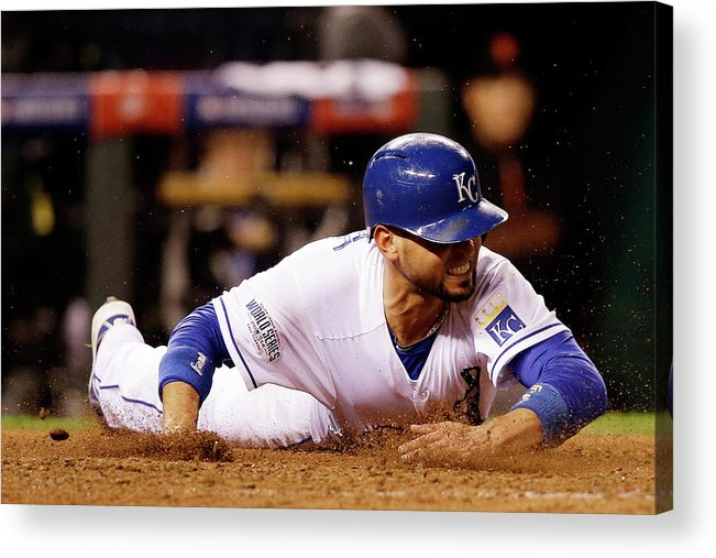 People Acrylic Print featuring the photograph Omar Infante and Alcides Escobar by Ezra Shaw
